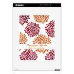 Rojo y naranja florece la piel de la tableta del i iPad calcomanía