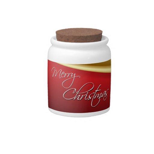Rojo y navidad elegante del oro jarras para caramelos