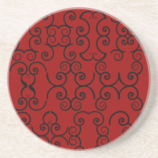 Rojo y negro afiligranados posavasos para bebidas