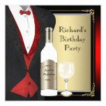 Rojo y negro envejecidos a la fiesta de cumpleaños comunicados personalizados