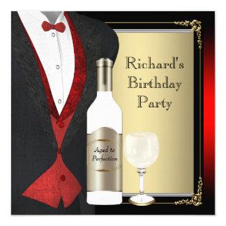 """Rojo y negro envejecidos a la fiesta de cumpleaños invitación 5.25"""" x 5.25"""""""