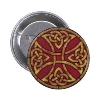 Rojo y nudo del Celtic del oro Pin Redondo 5 Cm