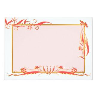 """Rojo y ornamento floral del oro invitación 5"""" x 7"""""""