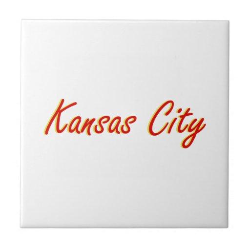 Rojo y oro de Kansas City Teja Ceramica