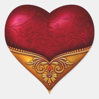 Rojo y oro decorativos pegatina en forma de corazón