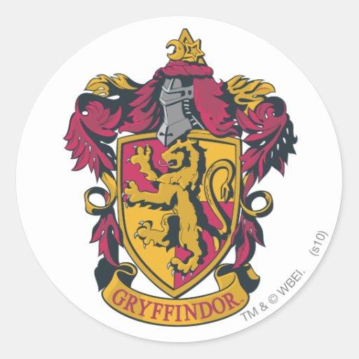 Rojo y oro del escudo de Gryffindor Pegatina Redonda