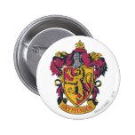 Rojo y oro del escudo de Gryffindor Pin Redondo De 2 Pulgadas