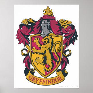 Rojo y oro del escudo de Gryffindor Póster