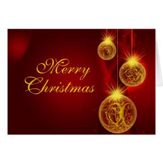 Rojo y oro, felices, navidad del navidad tarjeta de felicitación