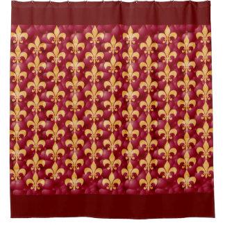 Rojo y oro Fleur-De-Les Cortina De Baño