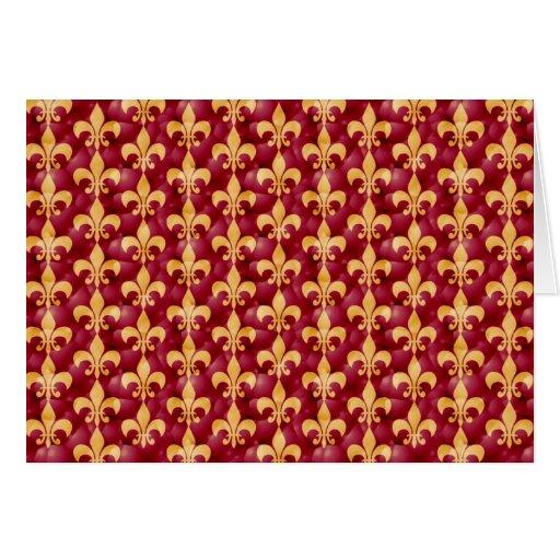 Rojo y oro Fleur-De-Les Tarjetón