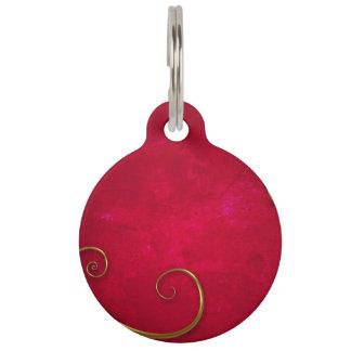 Rojo y oro placa de mascota
