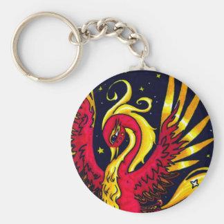 Rojo y oro que vuelan Phoenix Llavero Redondo Tipo Pin