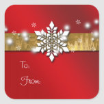 Rojo y pegatina de la etiqueta del regalo del