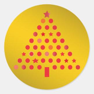 Rojo y pegatina del árbol de navidad del oro