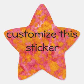 Rojo y personalizable teñido inmersión anaranjada pegatina en forma de estrella