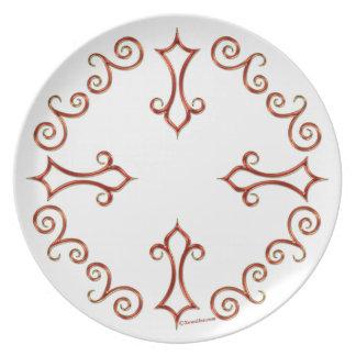 Rojo y placa adornada de la melamina del oro plato de cena