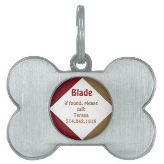 Rojo y placa de identificación del hueso de perro  placas mascota