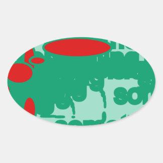 rojo y ponga verde el arte abstracto 1123 pegatina ovalada