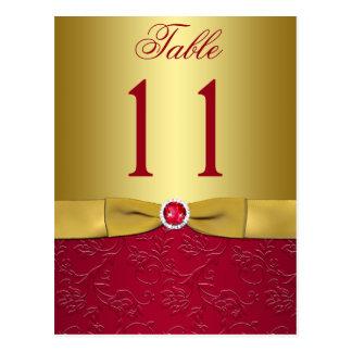 Rojo y postal floral del número de la tabla del or