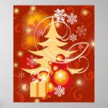 Rojo y poster del árbol de navidad del oro