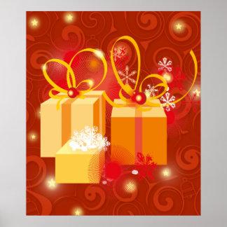 Rojo y poster del regalo de Navidad del oro