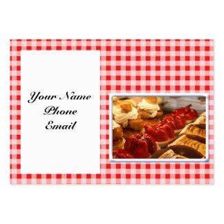 Rojo y postre comprobado blanco de la tela escoces tarjetas de negocios