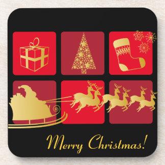 Rojo y práctico de costa del navidad del oro posavasos