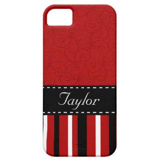 Rojo y rayas negras iPhone 5 Case-Mate protectores