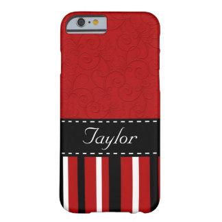 Rojo y rayas negras funda de iPhone 6 barely there
