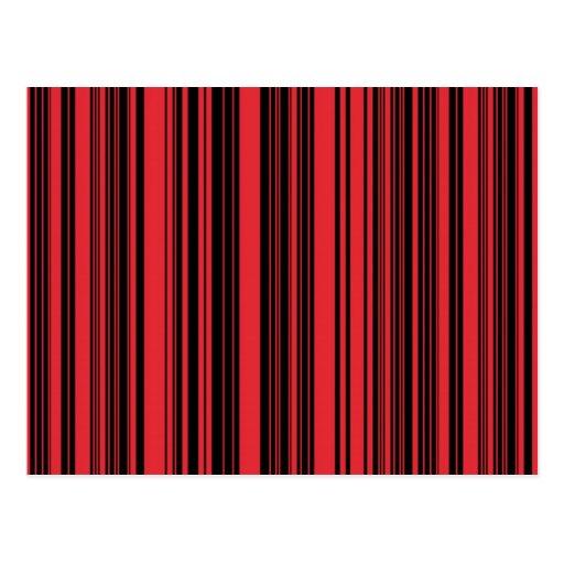 Rojo y rayas negras tarjeta postal