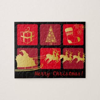 Rojo y rompecabezas del navidad del oro