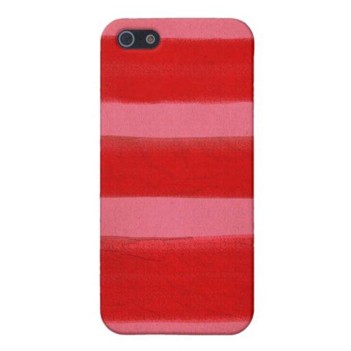 Rojo y rosado rayados iPhone 5 funda