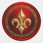 Rojo y sello del sobre de la flor de lis del oro etiquetas redondas