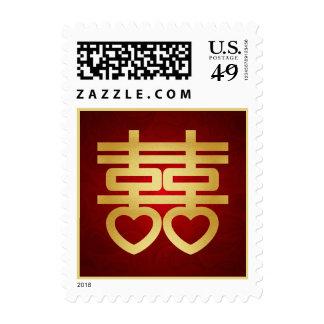 Rojo y símbolo doble chino de la felicidad del oro franqueo