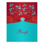 Rojo y tarjeta de contestación floral de la comunicados personalizados