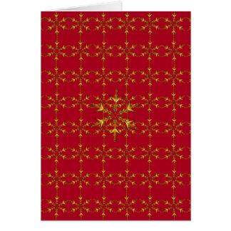 Rojo y tarjeta de felicitación de los copos de nie