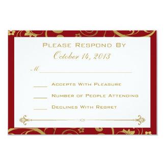 Rojo y tarjeta de RSVP del remolino del oro Invitación 8,9 X 12,7 Cm