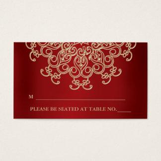 Rojo y tarjeta inspirada india del lugar del oro tarjetas de visita
