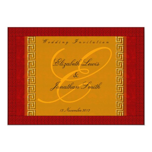 rojo y tarjeta oriental de la invitación del boda