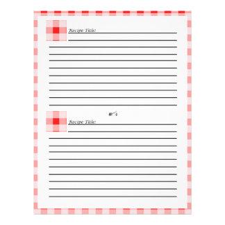 """Rojo y tarjetas comprobadas blanco de la receta de folleto 8.5"""" x 11"""""""