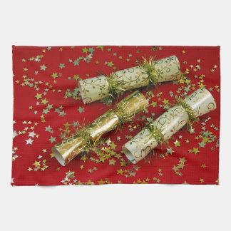 Rojo y toalla de la decoración del navidad del oro