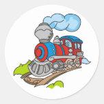 Rojo y tren azul etiquetas redondas