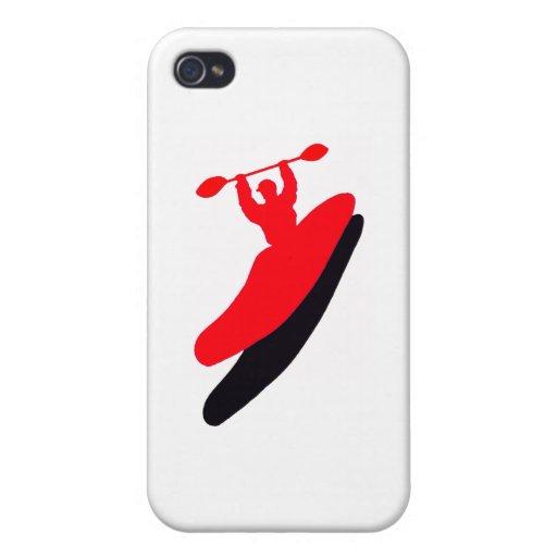 Rojo Zonezzzzzzzz del kajak iPhone 4/4S Carcasa
