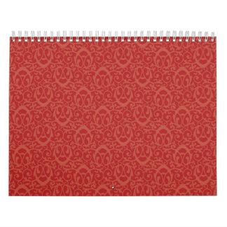 Rojos barrocos del modelo calendarios de pared