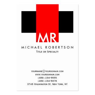 Rojos blancos del negro grande del monograma tarjetas de visita grandes