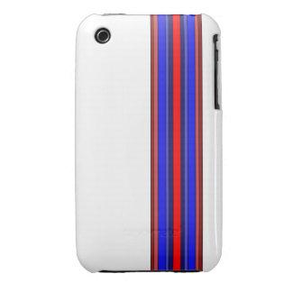 Rojos/caja rayada azules iPhone 3 Case-Mate cobertura