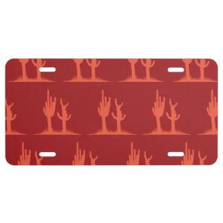 Rojos del cactus placa de matrícula