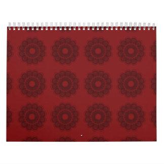 Rojos del estampado de plores calendario de pared