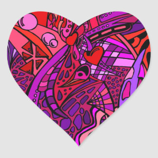 Rojos dos pegatina en forma de corazón
